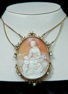 I wish I could give this beauty to my Mom Vintage Gold and Pearl Cameo Necklace/Brooch