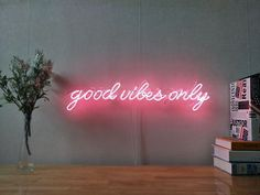 Good Vibes Only Real Glass Neon Sign For Bedroom Garage Bar Man Cave Room Home Decor Handmade Artwork Visual Art Dimmable Wall Lighting Includes Dimmer Rooms Home Decor, Diy Bedroom Decor, Wall Decor, Neon Home Decor, Bedroom Colors, Bedroom Ideas, Neon Light Signs, Led Neon Signs, Diy Neon Sign