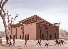 amkna design studio's sedhiou cultural center is an intervention space that aims to create a platform for storytelling and historical ritual practices. Brick Architecture, Minimalist Architecture, Classical Architecture, Ancient Architecture, Amazing Architecture, Landscape Architecture, Florence City, Butterfly Roof, Dubai Skyscraper