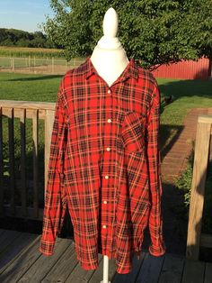 Old Navy Plaid Boyfriend XXL Tall Button Up Red Front Pocket Western #OldNavy…