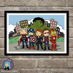 Superhero Avengers Art Poster by Beckadoodles on Etsy