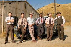 """GIOVANNI RIBISI as Officer Conwell Keeler, JOSH BROLIN as Sgt. John  O'Mara, RYAN GOSLING as Sgt. Jerry Wooters, ANTHONY MACKIE as Officer  Coleman Harris, MICHAEL PEÑA as Officer Navidad Ramirez and ROBERT  PATRICK as Officer Max Kennard in Warner Bros. Pictures' and Village  Roadshow Pictures' drama """"GANGSTER SQUAD,"""" a Warner Bros. Pictures  release.  Photo by Wilson Webb"""