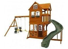 Set Playset Playground Outdoor Swing Backyard Kids Swingset Play Wooden Gym Kit - ShopMonkeez - 1