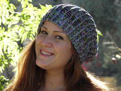 Hand Loom Knit Beanie Shimmer green/blue/purple (# 20) by yarncraftsbymom on Etsy