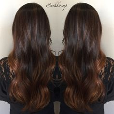 Balayage ombre, hand painted, rose, highlights, brunette