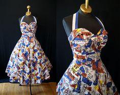 Gorgeous 1950s Surfriders of Hawaii novelty print summer sun dress shelf bust halter sweetheart
