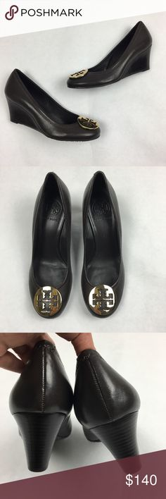 Tory Burch Sally Wedge Size 7 NWOT Tory Burch Sally Wedge Shoes Size 7 New With Out Tags.  Never Worn. Excellent condition. Elevated take on classic ballet flat style. Streamlined shape, stacked heel, gold double T logo.  Rich Chocolate Brown color.   No trades.  Offers accepted. Tory Burch Shoes Wedges