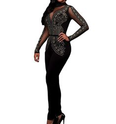 a0c932f274 Women Sexy Long Sleeve Studded Mesh Backless Bodycon Club Jumpsuit Rompers  Playsuit  gt  gt