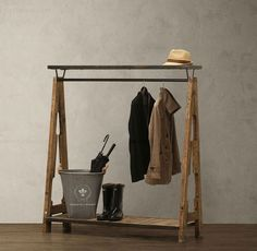 Franse smeedijzeren doen de oude kleding displayhanger vloer- hout kapstok kledingrek retro kleding(China (Mainland))