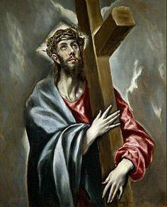 """""""Cristo Abrazando la Cruz"""" creado por el Greco entre 1597 y 1600, oleo sobre lienzo, mide 108 x 78 cm. y se encuentra en el museo del prado en Madrid, España. Se puede observar las caracteristicas desproporcionadas del cuerpo de Cristo que le dan su enfoque manierista por parte del Greco, tipico de sus obras"""