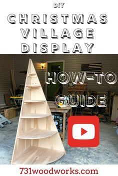 This how to build a Christmas Village Display Tree goes step by step. This Christmas Display Village Tree is a great way to showcase your Christmas Village. Christmas Tree Stand Diy, Christmas Tree Village Display, Corner Christmas Tree, Wood Christmas Tree, Christmas Villages, Christmas Holidays, Christmas Decorations, Christmas Displays, Christmas Mantles