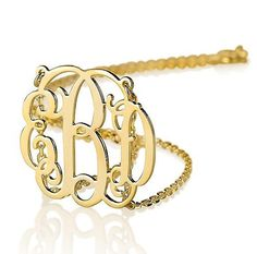 Monogram necklace - 1.25 inch Personalized Monogram - 18k Gold Plated