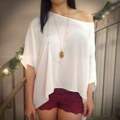 Red Lace  Leather Shorts Off the Shoulder Poncho Top Layered Gold Necklace