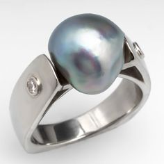 Baroque Pearl & Diamond Cocktail Ring