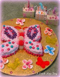 easy looking butterfly bday cake