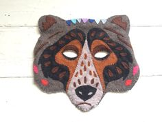 Handmade Bear Mask  Felt and Cotton  Nordic Crafts by miaunderwood