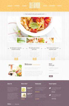 Website Template #57500 Defavor Restaurant Cafe Custom Website ...