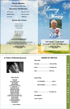 4 page graduated outdoor 5 program funeral pamphlets