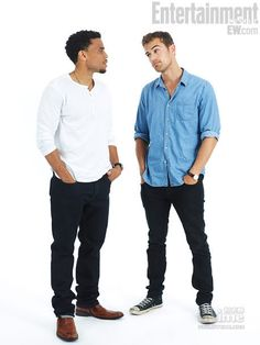 "Really cute pic of Theo James & Micheal Ealy posing for their ""Underworld"" Comic-Con EW Star Portrait"