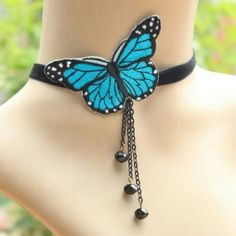 Adjustable Lady Beautiful Butterfly Choker Necklac Type Necklace Condition 100% brand new Material Metal, dacron, cloth ( butterfly ) Manufacture craft Handmade Feature Anti-allergy and colour will not fade Appearance Gothic style, party, cosplay, choker, necklace, blue butterfly Color Blue Size Necklace width: 1cm, length:27cm, 28-38cm for adjustable Gender Woman  Occasions Anniversary, Engagement, Gift, Party, Wedding, etc. Maintainance note Keep it far away from water, sweat or other…