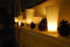 Milk Glass with Tea Lights.  Brilliant!