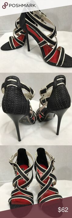 Charles Jourdan Paris• Strappy Heels• Size 6.5 Gorgeous  black and white strappy heel. Quality sexy holiday dress up Charles Jourdan Shoes Heels
