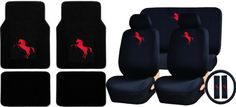 U.a.a. Inc. 15pc Red Mustang Pony Logo Carpet Floor Mats & Low Back Seat Covers, Rear Bench Cover, Steering Wheel Cover & Shoulder Pads. For product info go to:  https://www.caraccessoriesonlinemarket.com/u-a-a-inc-15pc-red-mustang-pony-logo-carpet-floor-mats-low-back-seat-covers-rear-bench-cover-steering-wheel-cover-shoulder-pads/