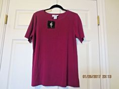 NWT Ming Wang Women's Knit Top Size Large Short Sleeve Fuchsia Berry #MingWang #KnitTop #TravelCareerOffice