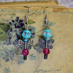 Dainty Purple Bead Turquoise Skull Dead Fairy by madrabbitcouture