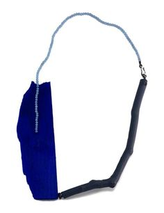 Myung Urso Neckpiece: Blue Monday, 2013 Wood, Twig, Acrylic paint, Beads, Thread, Sterling silver 19.5 x 27 x 1.5 cm