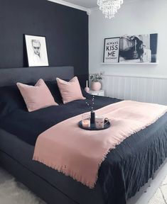 Fantastic small bedroom design ideas - It's great textures, sensible furnishings option, and also not an unimportant amount of resourcefulness. Right here are 25 motivating small bedroom ideas to attempt. Dream Rooms, Dream Bedroom, Home Bedroom, Bedroom Black, Charcoal Bedroom, Grey Bedroom Walls, Pink Master Bedroom, Dark Grey Bedding, Master Bedrooms