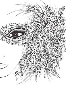 Dover Creative Haven Fanciful Faces Coloring Page