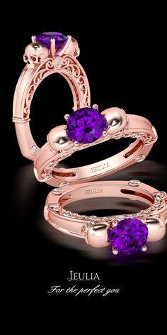 Jeulia Rose Gold Two Skull Round Cut Created Amethyst Skull Ring