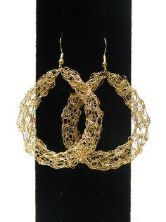 2****vs*****#Wire #crocheted #earrings, chunky hoop earrings, gold tone. $19.00, via Etsy.