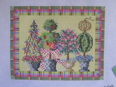 "NEW Handpainted needlepoint ""Summer"" topiary by Kelly Clark Needlepoint"