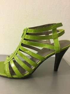 d5fbaeaa4 Womens 2 Worthington High Heel Open Toe Shoes -Lime Green Strappy Pumps  #fashion #