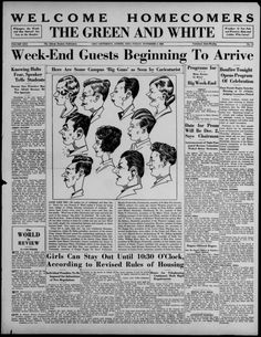 """The Green and White, November 4, 1932. """"Week-End Guests Beginning to Arrive."""" """"Former students, alumni and visitors were arriving in Athens this afternoon as a preliminary indication that the 1933 Homecoming celebration was officially under way."""" Ohio University prepared a bonfire, parade, and other events to welcome alumni back for the 1932 Homecoming. :: Ohio University Archives"""