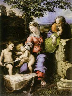 Madonna della Quercia . 1518-1520.  Disegno di Raffaello. Completata da Giulio Romano. Madrid.  El Prado.