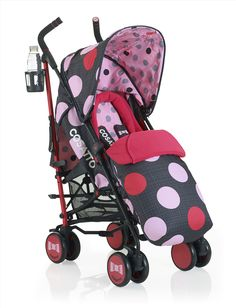 Cosatto Supa Pushchair in Pastille #polakdots #cosatto #pushchair #stroller #pink #spots