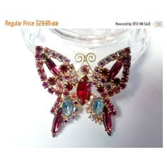 Vintage Rhinestone Butterfly Brooch Pink Collection 29.95 ($25) ❤ liked on Polyvore featuring jewelry, pink rhinestone jewelry, monarch butterfly jewelry, vintage jewellery, pink jewelry and rhinestone jewelry