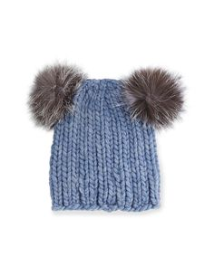 Mimi Knit Hat with Fur Pom Poms, Blue/Gray - Eugenia Kim