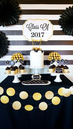 Bold Black and Gold Graduation Party Ideas