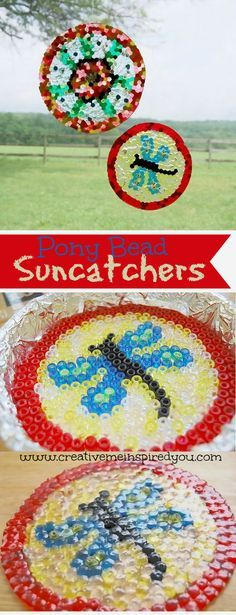 http://creativemeinspiredyou.com/pony-bead-suncatchers/ I have tons of these pony beads leftover from the kids, I think we'll get them out and make some pretty suncatchers today!