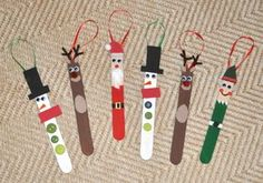 Popsicle ornaments: prepainted popsicle sticks, googily eyes, buttons, and markers to make snowman, reindeer, santa, and elves