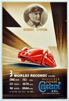 George Eyston Castrol Rolls Royce World Records, 1936 - original vintage poster listed on AntikBar.co.uk