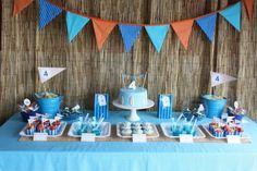 "Surfing / Kombi's / Beach / Birthday ""Surf's Up Birthday Party"" Planes Party, Airplane Party, Birthday Party Desserts, First Birthday Parties, Birthday Ideas, Circus Birthday, Baby Birthday, Luau, Ocean Party"
