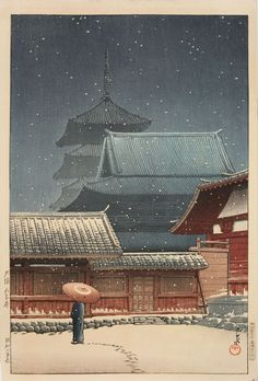 "Hasui Kawase (Japan,1883-1957) ""Tennoji Temple in Snow"" Woodblock Print, 1927"