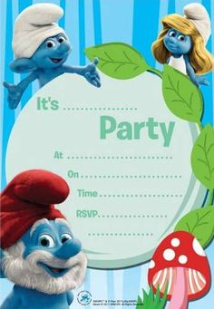 Smurfs Invitations from wwwHardToFindPartySuppliescom Smurfs