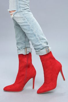 8b9b8454095 Bambi Red Suede Mid-Calf Boots 5 Red High Heel Boots