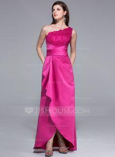 Sheath/Column One-Shoulder Asymmetrical Satin Lace Evening Dress With Ruffle (017025449)